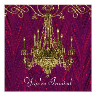 Partido do candelabro do ouro do vinho tinto de Bo Convite Personalizado