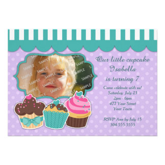 Partido do cupcake convites personalizados