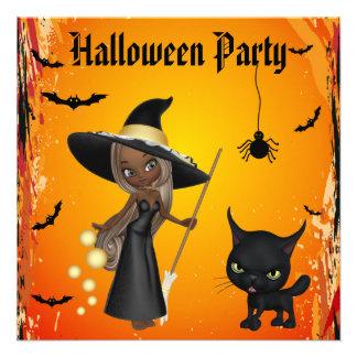 Partido do Dia das Bruxas da bruxa do gato do af Convite Personalizados