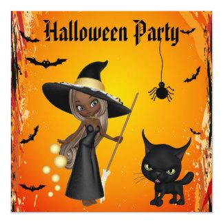 Partido do Dia das Bruxas da bruxa & do gato do Convite Quadrado 13.35 X 13.35cm