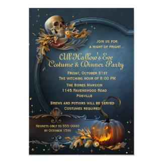 Partido do Dia das Bruxas do crânio e da abóbora Convite 12.7 X 17.78cm