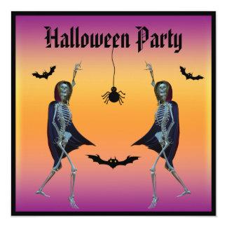Partido do Dia das Bruxas dos esqueletos da dança Convite Quadrado 13.35 X 13.35cm