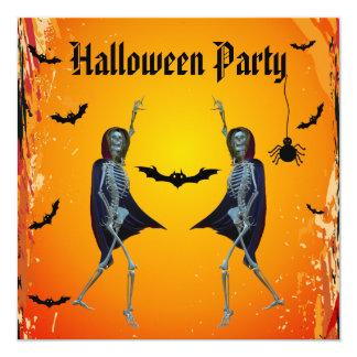 Partido do Dia das Bruxas dos esqueletos da dança Convite Personalizado