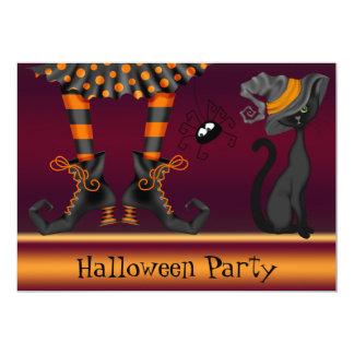 Partido do Dia das Bruxas dos pés, do gato e da Convite 12.7 X 17.78cm