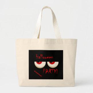 Partido do Dia das Bruxas - o vermelho eyes o Bolsa Tote Grande