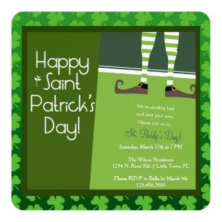 Partido do dia de St Patrick Convite Quadrado 13.35 X 13.35cm