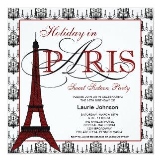Partido do doce dezesseis de Paris Convite Quadrado 13.35 X 13.35cm