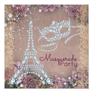 Partido do mascarada de Paris do vintage Convite Quadrado 13.35 X 13.35cm