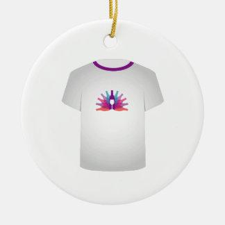 Partido do molde da camisa de T Ornamento De Cerâmica Redondo