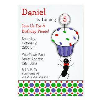 Partido do piquenique do aniversário das crianças convite 12.7 x 17.78cm