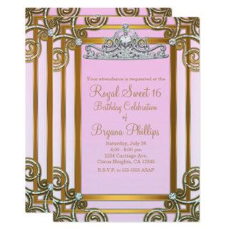 Partido do rosa & da princesa Coroa Tiara Doce 16 Convite 12.7 X 17.78cm