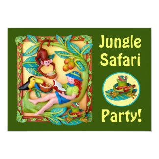 Partido do safari do tinir da menina convite 12.7 x 17.78cm