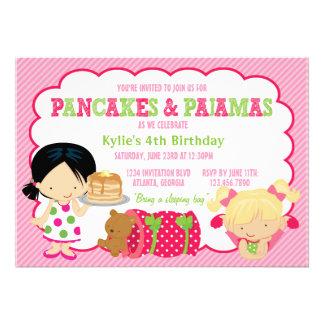 Partido do Sleepover das panquecas e dos pijamas Convite Personalizado