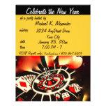 Partido do tema do casino da véspera de Ano Novo Convite Personalizados
