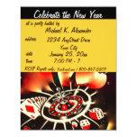 Partido do tema do casino da véspera de Ano Novo Convite 10.79 X 13.97cm