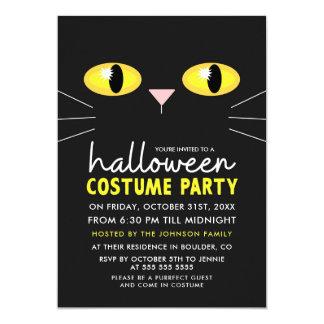 Partido do traje do Dia das Bruxas do gato preto Convite 12.7 X 17.78cm