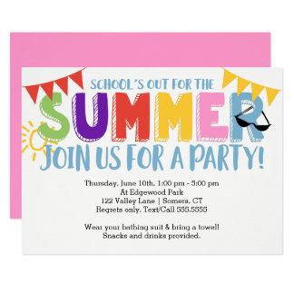 Partido do verão, da escola as cores brilhantes convite 12.7 x 17.78cm