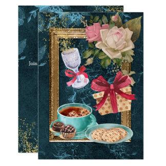Partido do vinho cor-de-rosa dos biscoitos do convite 12.7 x 17.78cm