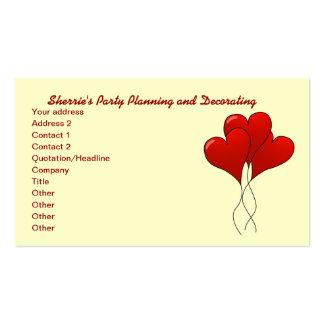 Partido dos corações do balão e cartão de visita