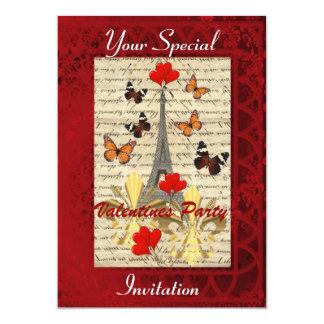 Partido dos namorados de Paris e de borboletas Convite 12.7 X 17.78cm