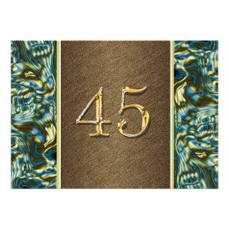partido elegante azul do 45th ouro marrom convite personalizado