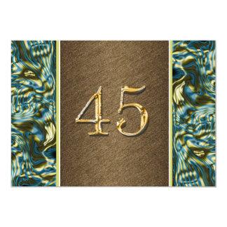 partido elegante azul do 45th ouro marrom convite 12.7 x 17.78cm