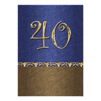 partido elegante do marrom azul 40th convite personalizados