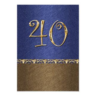 partido elegante do marrom azul 40th convite 12.7 x 17.78cm