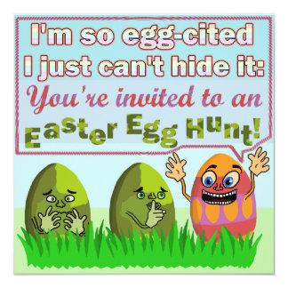 Partido engraçado da caça do ovo da páscoa de convite quadrado 13.35 x 13.35cm