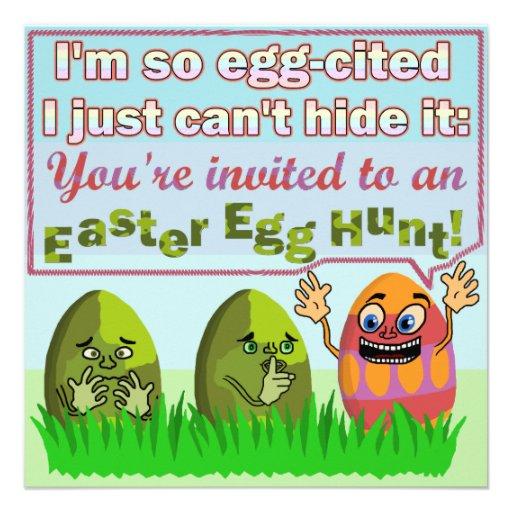 Partido engraçado da caça do ovo da páscoa de Eggc Convite Personalizados