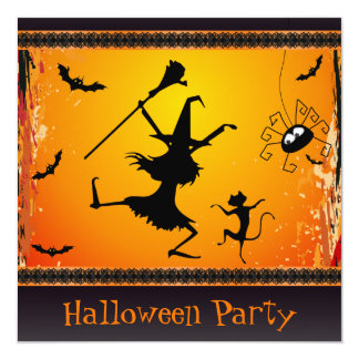 Partido engraçado do Dia das Bruxas da bruxa e do Convite Quadrado 13.35 X 13.35cm