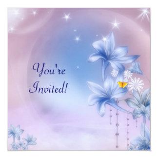 Partido Flowerworld cor-de-rosa azul 6 do convite
