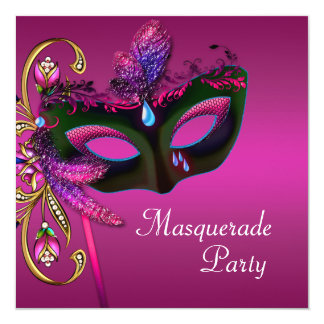 Partido fúcsia elegante do mascarada do rosa convite quadrado 13.35 x 13.35cm