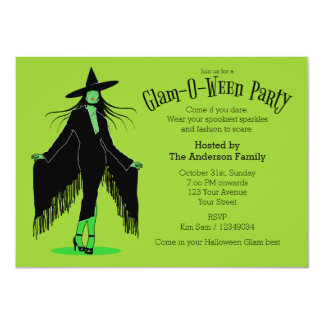 Partido Glam da bruxa do Dia das Bruxas Convites