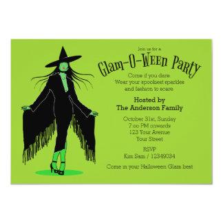 Partido Glam da bruxa do Dia das Bruxas Convite 11.30 X 15.87cm