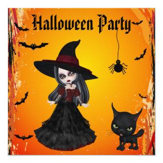 Partido gótico bonito do Dia das Bruxas da bruxa & Convite Quadrado 13.35 X 13.35cm