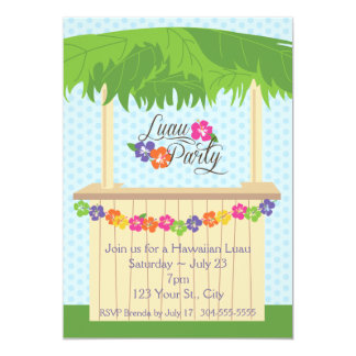 Partido havaiano de Luau Convite 12.7 X 17.78cm