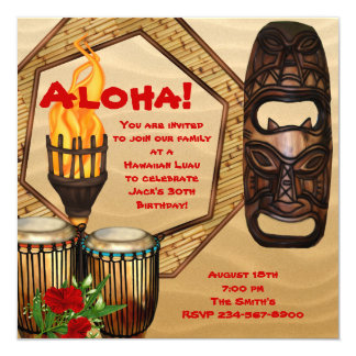 Partido havaiano de Luau da festa de aniversário Convite Quadrado 13.35 X 13.35cm
