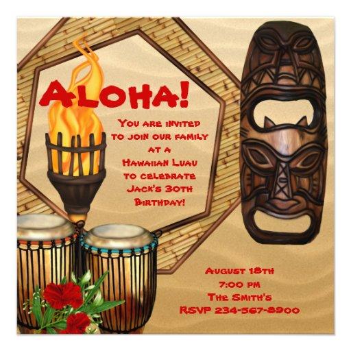 Partido havaiano de Luau da festa de aniversário d Convites Personalizado