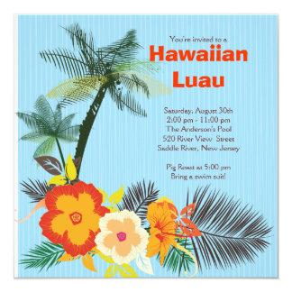 Partido havaiano de Luau das bebidas tropicais à Convite Quadrado 13.35 X 13.35cm