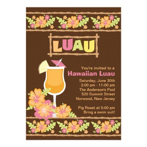 Partido havaiano de Luau das bebidas tropicais à m Convites