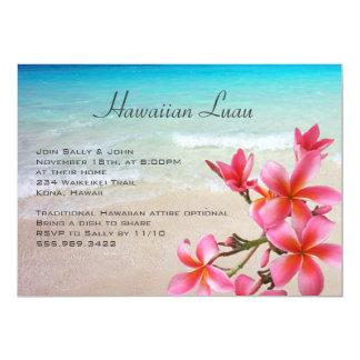 Partido havaiano do Plumeria do oceano de Luau Convite 12.7 X 17.78cm