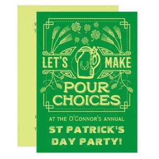 Partido irlandês da cerveja do verde engraçado do convite 12.7 x 17.78cm