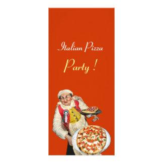 PARTIDO ITALIANO da PIZZA, PIZARIA, laranja, preta 10.16 X 22.86cm Panfleto