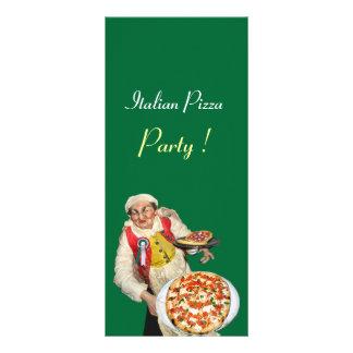 PARTIDO ITALIANO da PIZZA, PIZARIA, preto, verde 10.16 X 22.86cm Panfleto