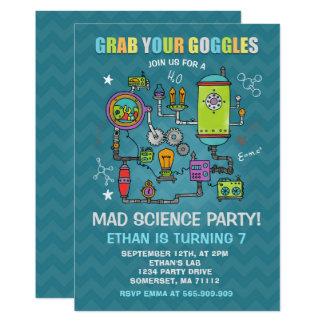 Partido louco da ciência do convite do aniversário
