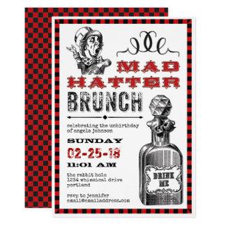 Partido louco da refeição matinal do Hatter no Convite 12.7 X 17.78cm