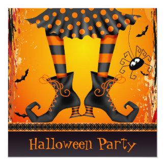 Partido lunático Funky do Dia das Bruxas dos pés Convite Quadrado 13.35 X 13.35cm