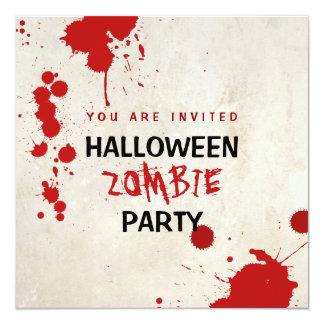 Partido manchado de sangue do vampiro do zombi do convite quadrado 13.35 x 13.35cm