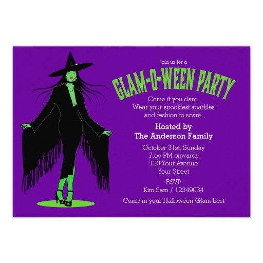 Partido mau do encanto da bruxa do Dia das Bruxas Convite Personalizados